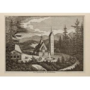 KARPACZ, Widok na świątynię Wang, anonim, ok. 1840; lit. cz.-b., podklejona sztywnym papierem, st. bdb., p ...