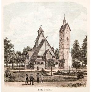 KARPACZ, Widok na świątynię Wang, anonim, pochodzi prawdopodobnie z: Illustrirte Zeitung, ok. 1870; drzew. ...