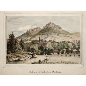 KARPNIKI k. Jeleniej Góry, Jeleniej Góry. Widok na zamek, anonim, pochodzi z: Borussia. Museum für preussische Vaterlandskund ...