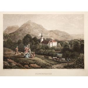 KARPNIKI k. Jeleniej Góry, Widok na zamek, ryt. Grünewald & Cooke, rys. Adrian Ludwig Richter, pochodzi z: Herloßsohn, H., Wa ...