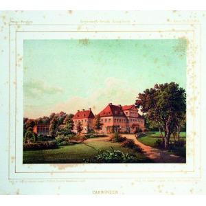 KARWINY, Widok na pałac, rys. Th. Albert, lit. w zakładzie Winckelmann & Söhne, pochodzi z: Duncker, Alexa ...