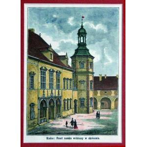 KIELCE, Fragment zamku, ryt. Andrzej Zajkowski, pochodzi z: Kłosy, 1871; drzew. szt. kolor., st. bdb., pass ...