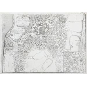 KOŁOBRZEG, Pierwsze oblężenie Twierdzy Kołobrzeg w czasie wojny siedmioletniej (X 1758), ryt. Carl Gottfied  ...