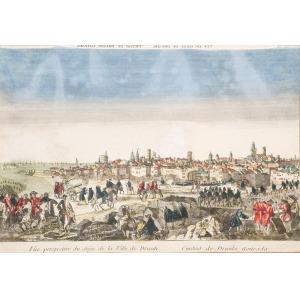 KOŁOBRZEG, Przybliżony widok miasta (z elementami fantazyjnymi) oblężonego w czasie wojny siedmioletniej – ...