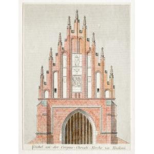KRAKÓW, Fasada kościoła Bożego Ciała, anonim, ok. 1880; drzew. kolor., st. bdb., passe-partout; wymiary  ...
