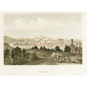 KRAKÓW, Panorama miasta, pochodzi z: Meyer's Universum, wyd. Kunstanstalt der Bibliographischen Inststituts, ...