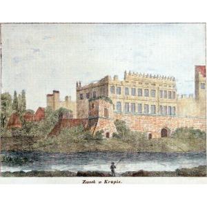 KRUPE, Widok na zamek, anonim, pochodzi z: Przyjaciel Ludu, Leszno 1840; lit. kolor., podklejona papierem z ...