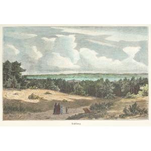 KRYNICA MORSKA, Widok ogólny w str. Zalewu Wiślanego, ryt. Adolf Closs, rys. Hermann Penner, ok. 1880; drzew. szt. ...