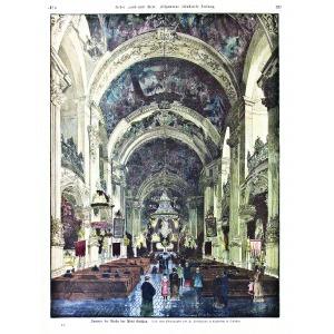 KRZESZÓW, Wnętrze kościoła klasztornego; według fot. Fr. Pietschmanna, ryt. Marianne Kirchner i J.J. Kirch ...