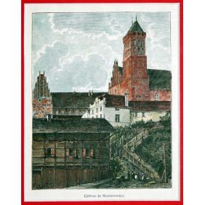 KWIDZYN, Fragment zamku, ryt. Navellier i Marie, rys. Hubert Clerget, pochodzi z: Malte-Brun, Victor Adolphe, ...