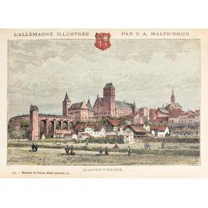 KWIDZYN, Widok na zamek i miasto, ryt. Navellier i Marie, rys. Hubert Clerget, pochodzi z: Malte-Brun, Victor ...