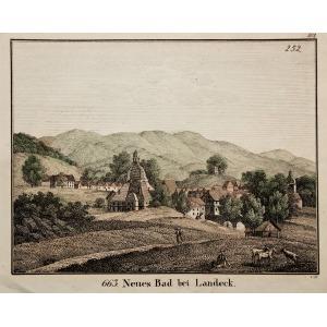 LĄDEK-ZDRÓJ, Widok na dom zdrojowy, sygn. C.D., ok. 1820; miedz. kolor., st. bdb.; wymiary: 160x128 mm; 663. Neue ...