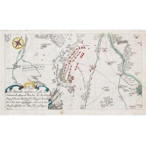 LUTYNIA, Plan bitwy pod Lutynią (5 XII 1757) między oddziałami Fryderyka II a wojskami austriackimi; pocho ...