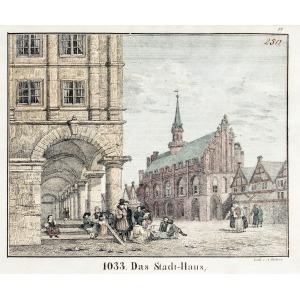 MALBORK, Ratusz, lit. A. Richter, ok. 1840; lit. kolor., st. bdb., delikatne zażółcenia marginesów; wymia ...
