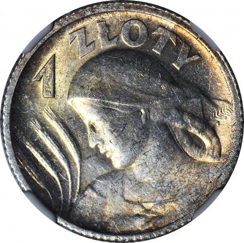 RR-, 1 złoty 1924 Paryż, Żniwiarka, SKRĘTKA 25 stopni
