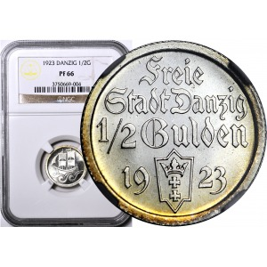 R-, KOLEKCJA LUSTRZANEK WMG, 1/2 guldena 1923