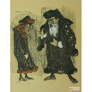 """Stanisław Szreniawa-Rzecki (1888-1972), Józef Kotarbinski jako Shylock i Stanislaw Bronicz jako Tubal w sztuce Szekspira """"Kupiec wenecki"""";"""