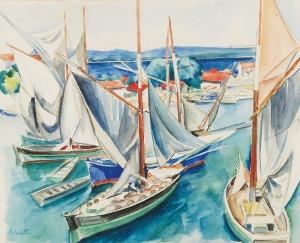 Erwin ELSTER (1887-1977), Łodzie w porcie - Motyw francuski, ok. 1930