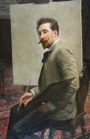 Mieczysław REYZNER (1861-1941), Autoportret z paletą, 1890