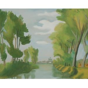 Zygmunt DOBRZYCKI (1896-1970), Pejzaż z rzeką, 1949