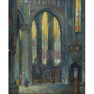 Mieczysław RAKOWSKI (1883-1947), Wnętrze kościoła św. Michała i św. Guduli w Brukseli, 1934