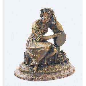 Claude Michel - CLODION (1738-1814) - według, Bachantka siedząca na beczce z winogronami