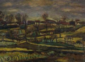 Michel ADLEN, PEJZAŻ WIEJSKI, 1950