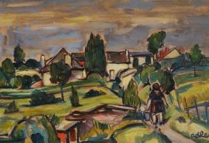 Michel ADLEN, PEJZAŻ Z OGRODNICZKĄ, 1955