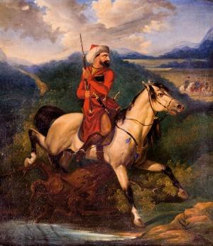 Józef BRODOWSKI  (młodszy), CZERKIES NA ZWIADACH OBSERWUJĄCY ŻOŁNIERZY ROSYJSKICH, 1847 Olej, płótno 70,5 x 53 cm Sygnowany p.d.: J.B. 1847