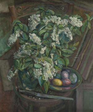 Emil Krcha (1894-1972), Martwa natura z białymi bzami, 1943 r.