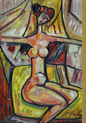 Eugeniusz Gerlach (Ur.1941), Akt na tle draperii, 1991