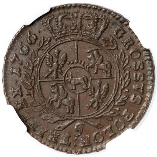Poniatowski, Trojak 1766-g, Kraków - popiersie Stieler - ładny i ciekawy