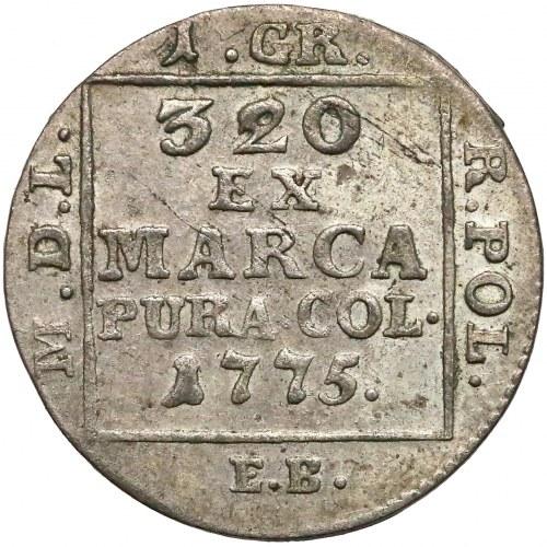 Poniatowski, Grosz srebrny 1775 E.B. - piękny i b. rzadki