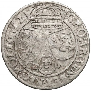 Jan II Kazimierz, Szóstak Lwów 1662 GBA - odwrócone G zamiast D