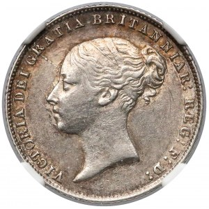 Great Britain, 6 Pence 1866 with stamp number - NGC AU55