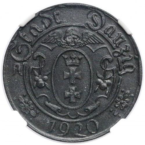 Gdańsk, 10 fenigów 1920 - 55 perełek - typ C.1 - piękny