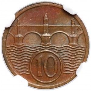 Czechoslovakia, 10 heller 1929 - NGC MS65 BN