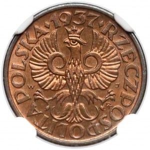 1 grosz 1937 - NGC MS66 RB