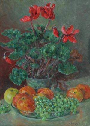 Kazimierz BOROWSKI (1877-1966), Martwa natura z kwiatami i owocami, 1943