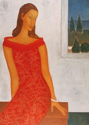 Roman ZAKRZEWSKI (1955-2014), Portret z widokiem zza okna, 2001