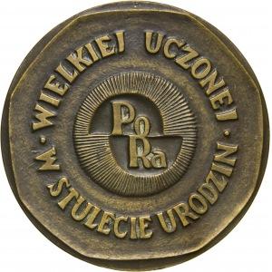 Maria Skłodowska Curie, 100-lecie urodzin, 1967, tombak patynowany, medalier Wanda Gosławska
