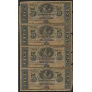 USA, Luizjana, nierozcięty arkusz 4 banknotów 5 dolarowych (bez zdjcia)