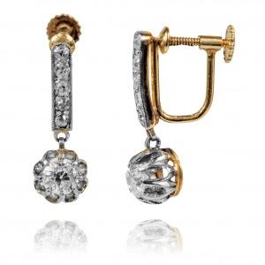 224B. Kolczyki/klipsy z diamentami wykonane ze złota oraz platyny