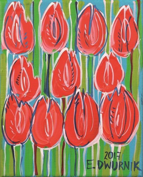 Edward Dwurnik, Czerwone tulipany, 2017