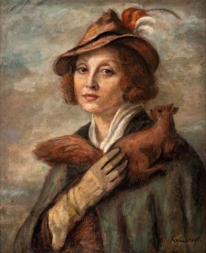 Roman Kramsztyk, DAMA ZWIEWIÓRKĄ (PORTRET MARII BRYDZIŃSKIEJ), ok. 1935 - 1936