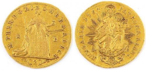 MONETA, 2 DUKATY, Maria Teresa, Węgry, Kremnitz, 1764