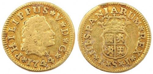 Hiszpania, Filip V, 1/2 Escudo 1744