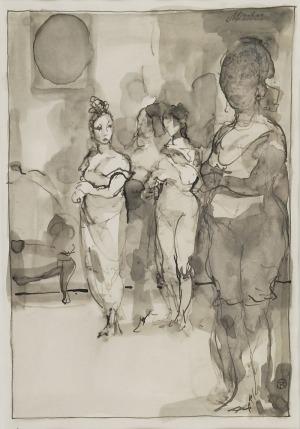 Tomasz KAZIKOWSKI (ur. 1952), Kompozycja figuralna - W salonie