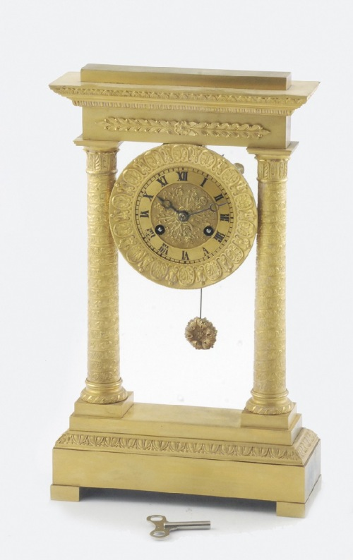 Zegar kominkowy, portykowy, empirowy