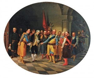 Władysław BAKAŁOWICZ (1833-1903), Scena historyczna ze schyłku I Rzeczpospolitej, 1859
